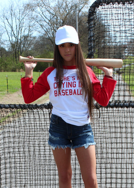no crying in baseball tee - red