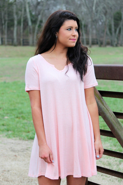 everyday wear t-shirt dress - peach