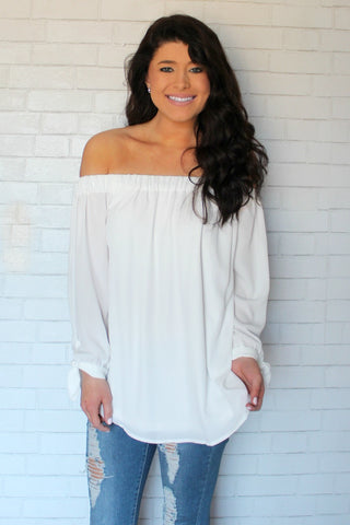 now trending off shoulder top - ivory