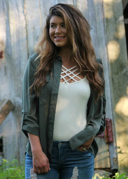 briley button up top - olive