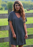 maddie striped tunic - black