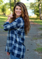 piper plaid top - navy