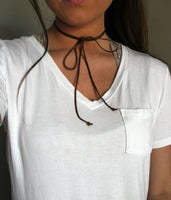sarah beth choker: solid long wrap necklace