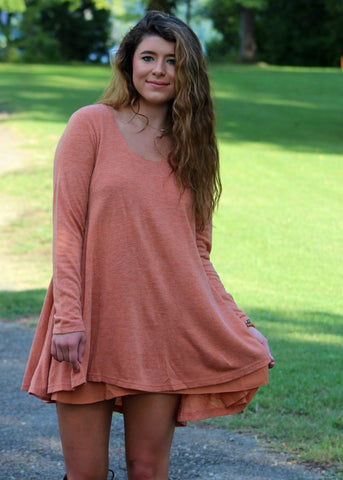 play it cool layered dress - rust
