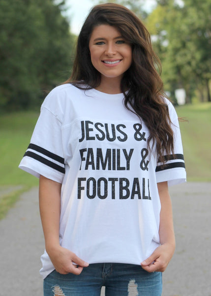 jesus & family & football jersey tee