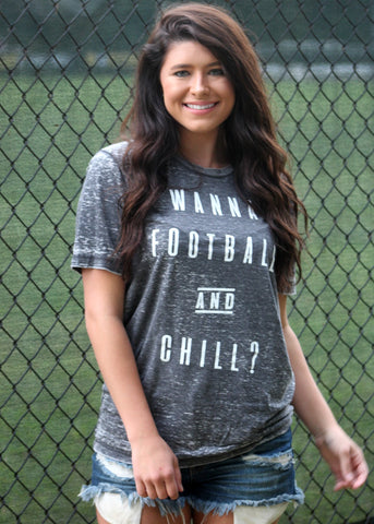 wanna football and chill burnout tee - charcoal