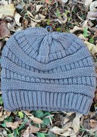 Cable Knit Beanie - gray