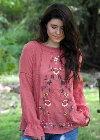 autumn breeze embroidered long sleeve top - sunset