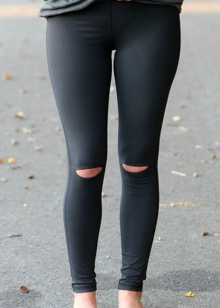 must have knee slit leggings - black