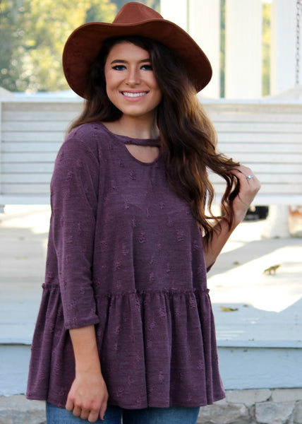 lila distressed top