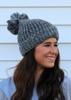 two toned pom pom beanie - gray