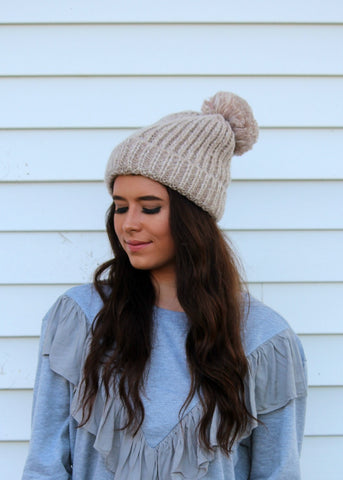 two toned pom pom beanie - ivory