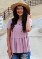 walk in the park peplum top - mauve