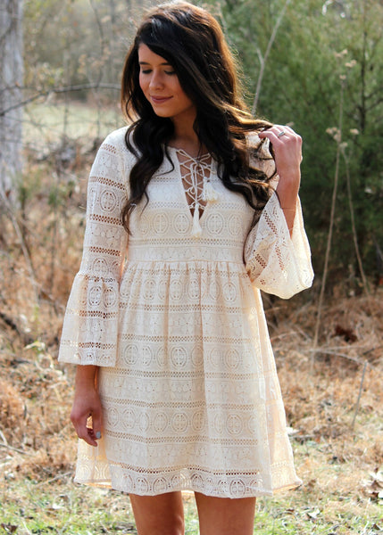 believe in love lace dress - natural