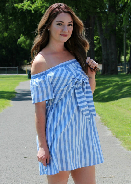 southern charm off shoulder stripe dress - blue