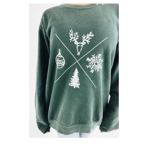signs of Christmas sweatshirt - forest green