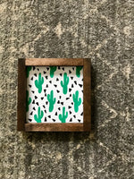 cactus print mini sign