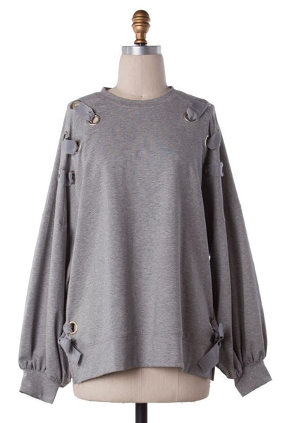 gotta have it lace up top - heather gray