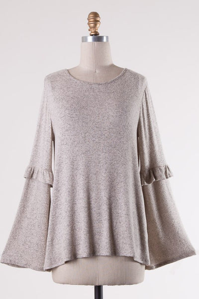 first thought bell sleeve top - taupe