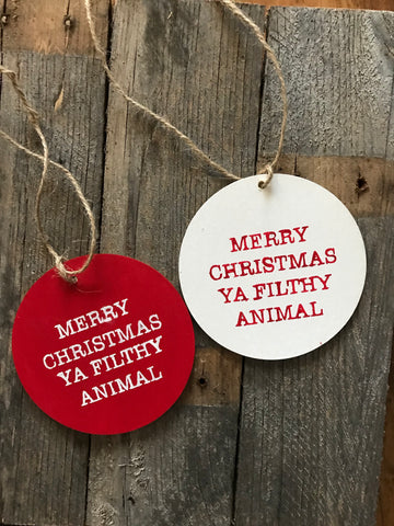 merry Christmas ya filthy animal ornament - multi-colors