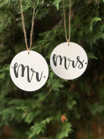 mr. and mrs. ornaments - white