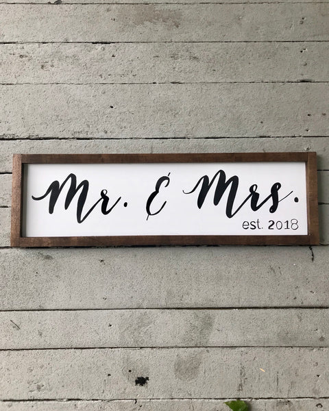 mr. & mrs. established sign