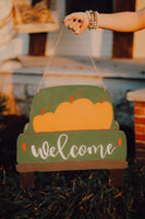 Fall/Christmas farm truck reversible door hanger