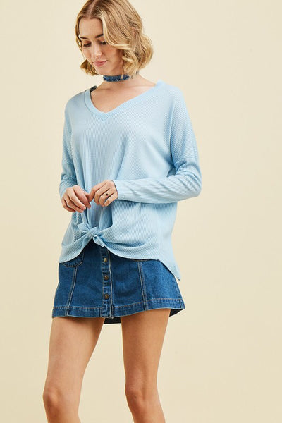 soft feel v-neck top - light blue