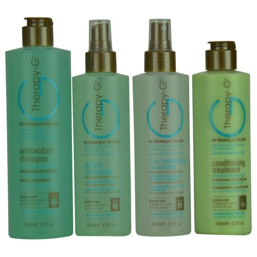 Set-therapy- G 4-step System Kit For Thinning Hair With Antioxidant Shampoo 12 Oz & Follicle Stimulator 8.5 Oz, Conditioning Treatment 8.5 Oz & Hair Volumizing Treatment 8.5 Oz--90 Day Supply