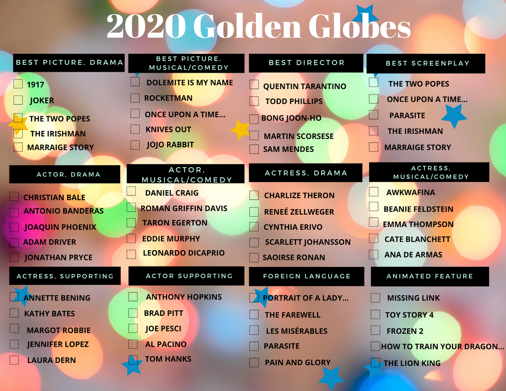 2020 Golden Globes Ballot - you're welcome