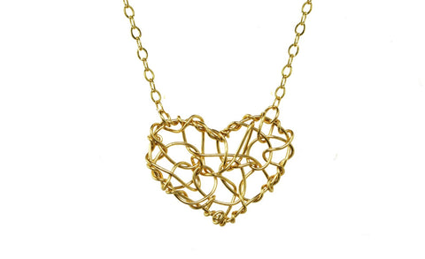 Anne Woodman Chaos heart necklace gold wire