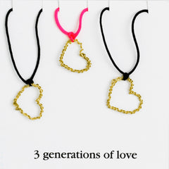 3 generations of love necklace set heart necklace Anne Woodman