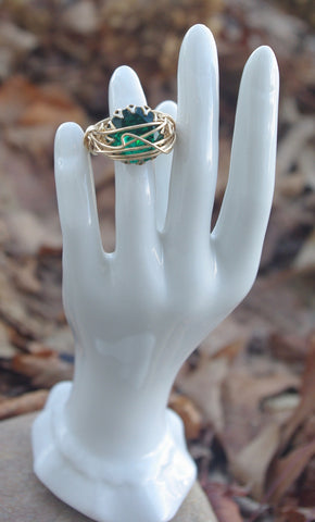 green gem vintage ring