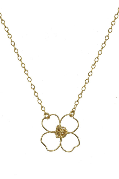 Gold four leaf clover necklace