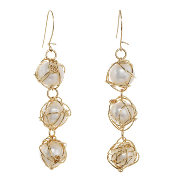 Wrapped Pearl Triple Drop Earrings