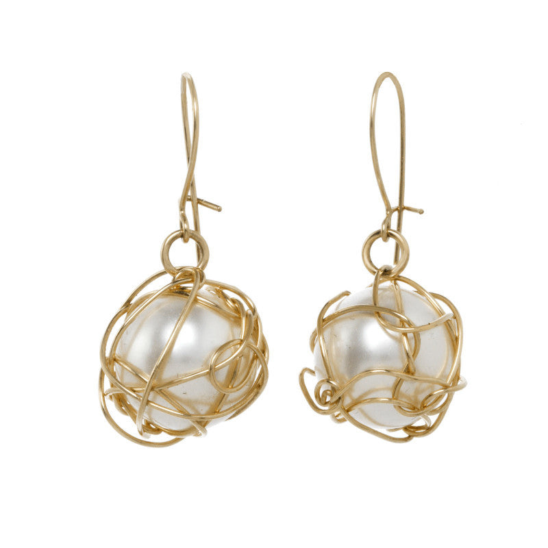 Wrapped Pearl Drop Earrings