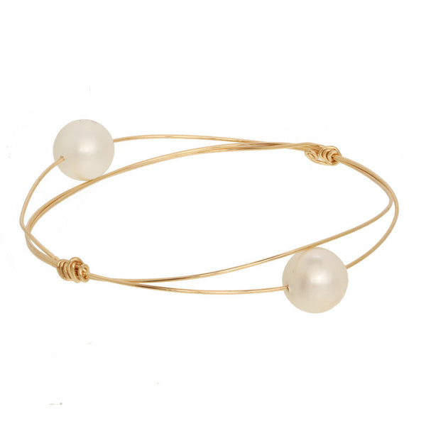 Wire Bangle w/ Pearls