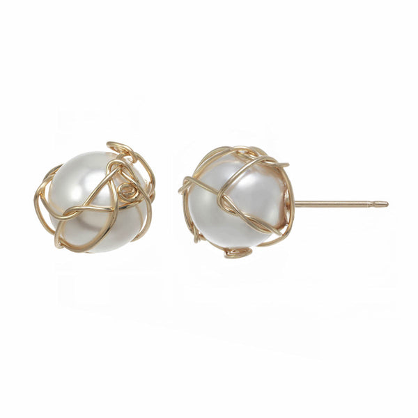 Wrapped Pearl Stud earrings
