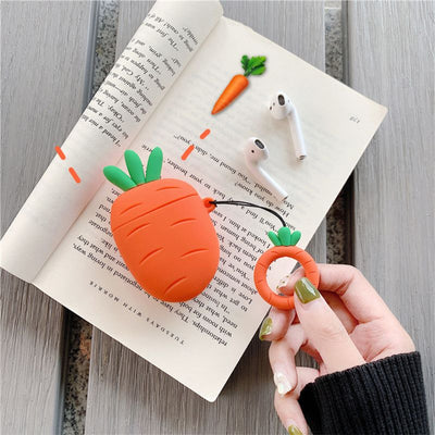Cute Cactus Carrot Pattern Soft Silicone Protective Cover Shockproof Case Skin for Airpods