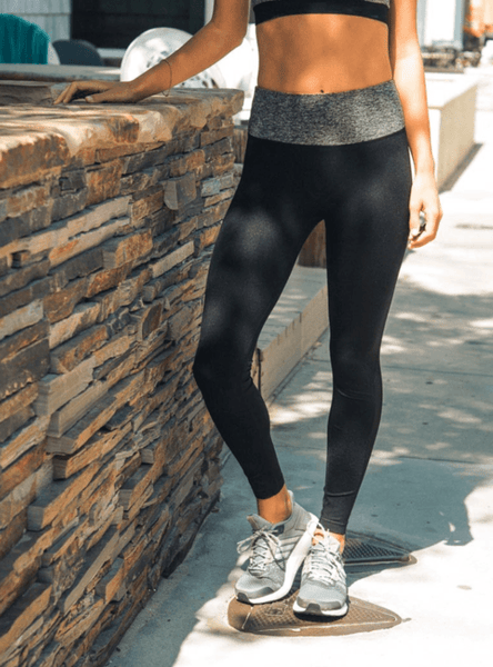 Best Fitted Black & Gray Yoga Leggings - Dimension Dream Seekers