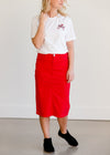 Remi Red Midi Skirt - Dimension Dream Seekers