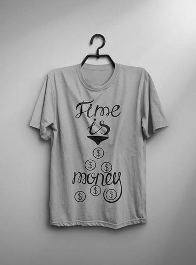 Time Is Money Shirt Men T Shirt Gray T-Shirt White - Dimension Dream Seekers