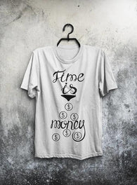 Time Is Money Shirt Men T Shirt Gray T-Shirt White