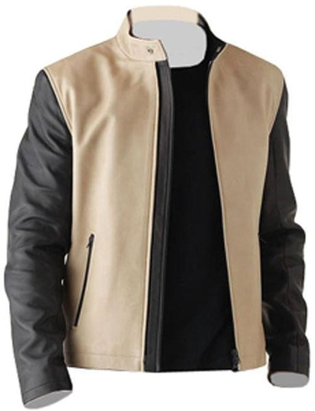 Men Cream Fashion Leather Jacket - Dimension Dream Seekers