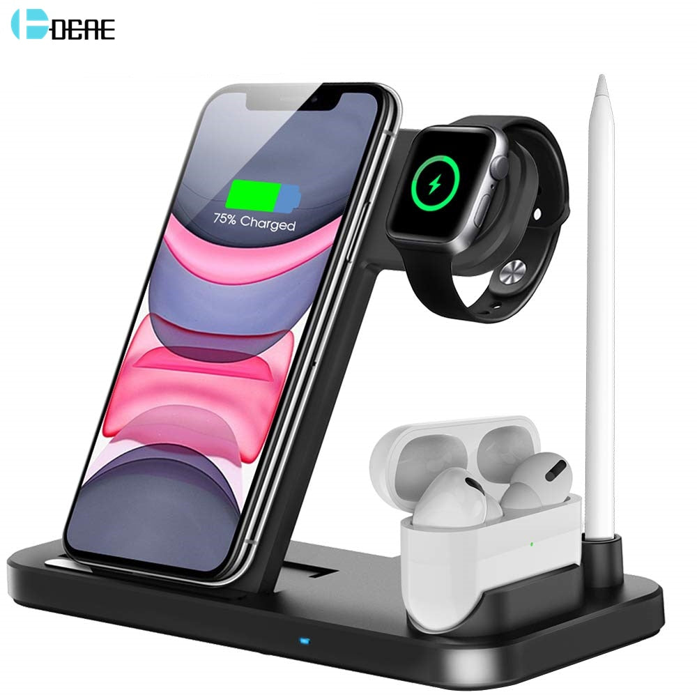 DCAE Wireless Charger QI 3 in 1 Qi 10W Fast Charging Dock Station for Apple Watch 5 4 3 2 Airpods Pro iPhone 11 XS XR X 8 Stand