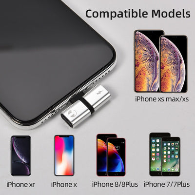 T-shaped headphone 2-in-1 dual-port headphone adapte for iPhone 7 8 Plus X XS audio charger dispenser accessories
