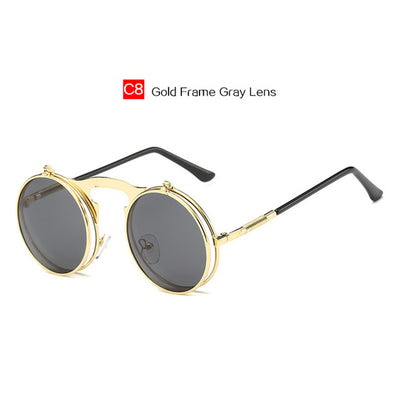 Vintage Round Flip Sun Glasses For Female And Male UV400