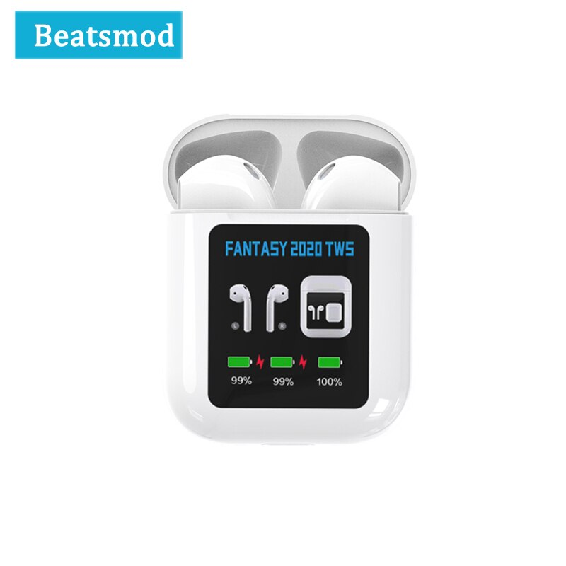 Bluetooth 5.0 Earphone FANTASY 2020 TWS 1.3 Inch LCD Display True Wireless Mini IPX4 waterproof Bluetooth Earbuds For Sport