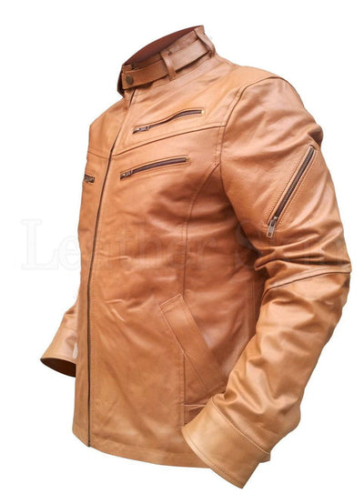 Light Brown Men Leather Jacket - Dimension Dream Seekers