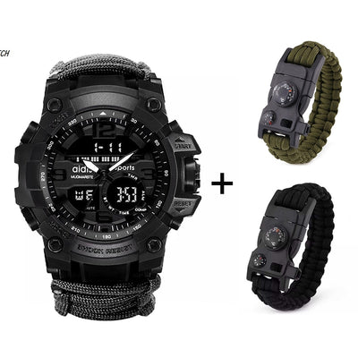 LED Military Watch with compass 30M Waterproof men's Sports Watch Men Sport Watch Shock Sport Watches Electronic Wristwatches